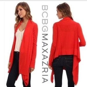 BCBGMaxAzria Red Open Long Front Cardigan Small